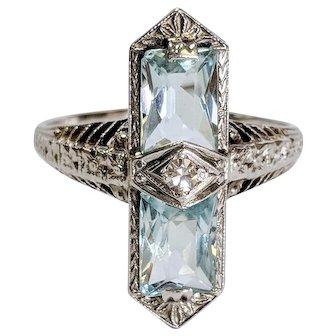 Edwardian 14kt Aquamarine and Diamond Ring