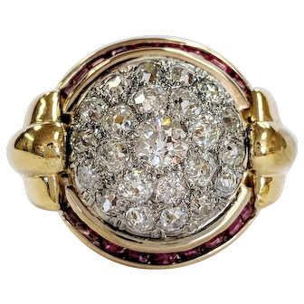 Late-Victorian 18kt Old Mine cut Diamond and Ruby Dome Ring
