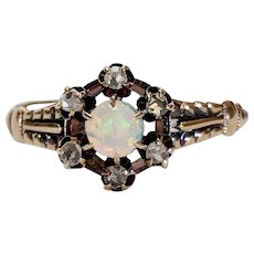 Victorian 12kt Opal and Rose cut Diamond Ring