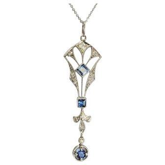 Edwardian Platinum Diamond and Sapphire Pendant