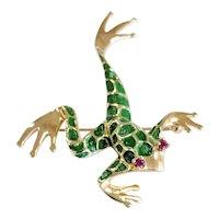 Dankner 14kt Ruby and Green Enamel Tree Frog Brooch