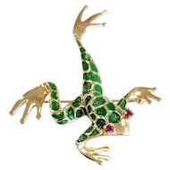 14kt Dankner Ruby and Enamel Tree Frog Pin/Brooch