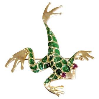 14kt Dankner Ruby and Enamel Tree Frog Pin/Brooch