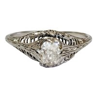 18kt Oval Old Mine cut Diamond Ring