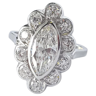 Mid-Century Marquise and Round cut Diamond Ring in PLAT