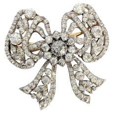 Victorian Old Mine cut Diamond Bow Brooch
