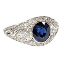 Edwardian Platinum Sapphire and Diamond Ring