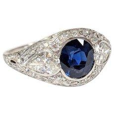 Edwardian Platinum Sapphire and Diamond Ring