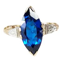 14kt Two-tone Synthetic Sapphire Ring