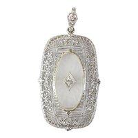 14kt Camphor Glass and Diamond Pendant