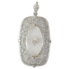 14kt Camphor Glass and Diamond Pendant