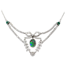 Platinum Black Opal, Diamond and Emerald Necklace