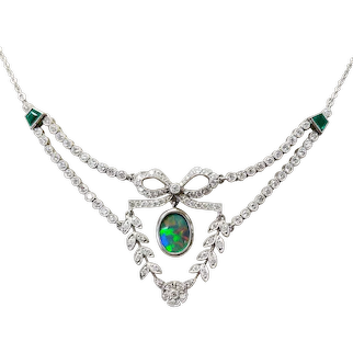 Platinum Black Opal, Diamond and Emerald Necklace