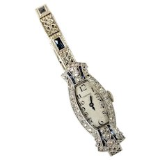 Platinum and 14kt Diamond and Sapphire Wrist Watch