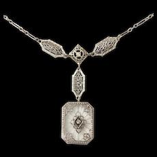 14kt Camphor Glass and Diamond Necklace