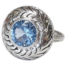 Edwardian 14kt Aquamarine Ring