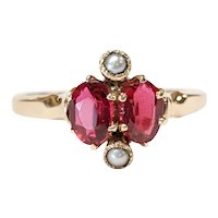 10kt Ruby and Seed Pearl Ring