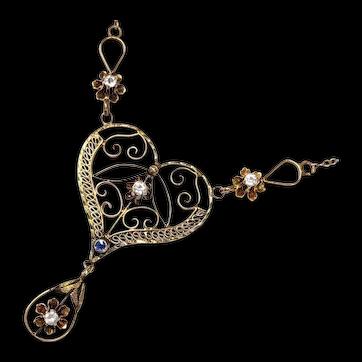 Victorian 10kt Heart Lavalier Necklace