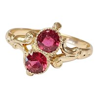 Victorian 10kt Synthetic Ruby Doublet Ring