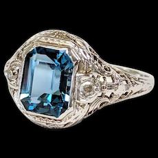 14kt Blue Topaz and Diamond Ring
