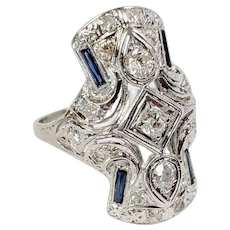 Art Deco 18kt Diamond and Sapphire Ring