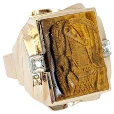 10kt Bi-color Tigers Eye and Diamond Ring