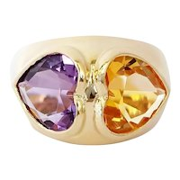 14kt Amethyst and Citrine Heart Ring