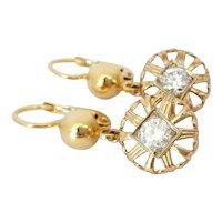 18kt Bi-color Diamond Drop Earrings