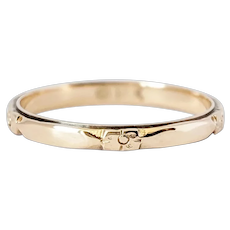 Victorian 14kt Yellow Gold Band with Floral carvings