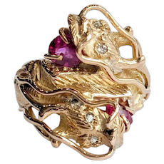 14kt Diamond and Synthetic Ruby Ring