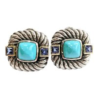 David Yurman 14kt/Sterling Silver Turquoise and Iolite Earrings