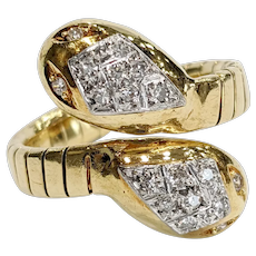 18k Two-tone Double headed Snake Ring
