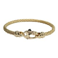 14kt Cable Bangle with a Sapphire Clasp