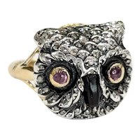 Converted Victorian Owl Stickpin Ring