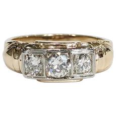Mid-Century 10kt Two-tone Diamond Ring