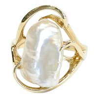 14kt Boroque Pearl Freeform Ring