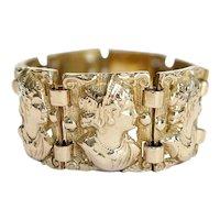 Art Nouveau 14kt Cameo Link Bracelet