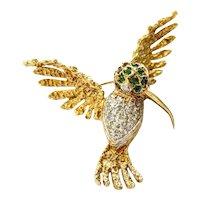 18kt Diamond and Emerald Hummingbird