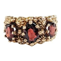 14kt Garnet 3-stone Ring