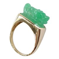 14kt Jadeite Dragon Ring