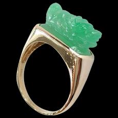 """14kt Jadeite """"Foo Dog"""" Ring"""
