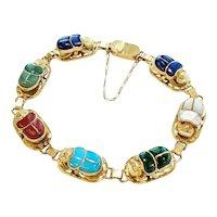 Egyptian 18kt Scarab Beetle Bracelet
