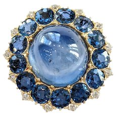 18kt Sapphire and Diamond Brooch/Pendant