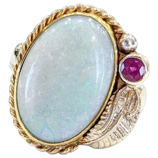 14kt Two-tone Opal and Ruby Ring