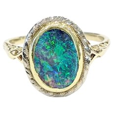 14kt Two-tone Black Opal Ring
