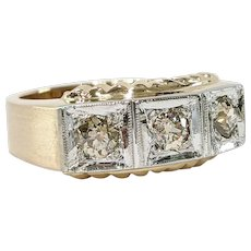 14kt Two-tone Old Mine cut Diamond Ring