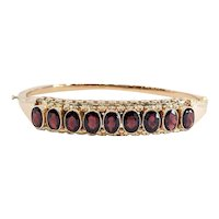14kt Rose Gold Garnet Bangle