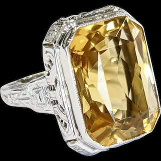 Mid-Century 14kt Citrine Ring