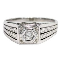 Men's 18kt Old Mine cut Diamond Ring