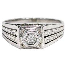 Men's 18kt Old Mine cut Diamond Ring